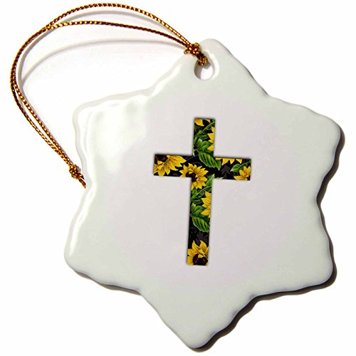 3dRose InspirationzStore Christian Designs - Sunflower pattern Christian Cross - black and yellow floral crucifix - 3 inch Snowflake Porcelain Ornament (orn_185475_1)