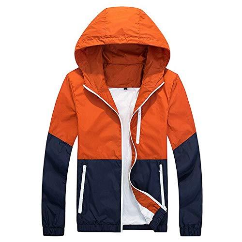 Buy Hangon Thin Jacket Men Windbreaker Summer Autumn Fashion Jacket Mens Hooded Casual Jackets Male Coat Couple Outwear Sunscreen Clothes Orange At Amazon In