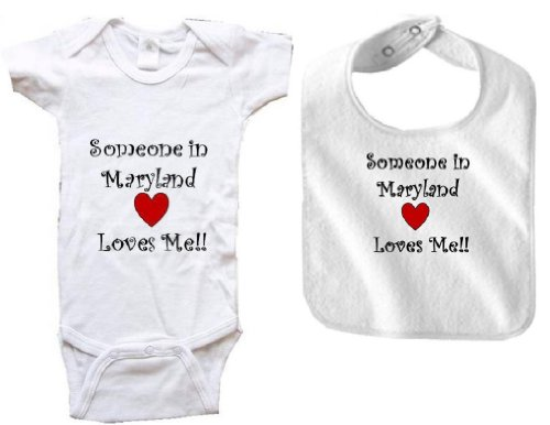 [SOMEONE IN MARYLAND LOVES ME - MARYLAND BABY - 2 Piece Baby-Set - State-series - White Baby One Piece Bodysuit / Baby T-shirt and White Bib - size Small (6-12M)] (City Of Greenbelt Maryland)