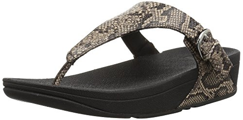 Taupe Snake (FitFlop Women's The Skinny Sandal, Taupe Snake, 7 M US)