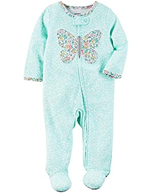 Baby Girls' Floral Butterfly Footie