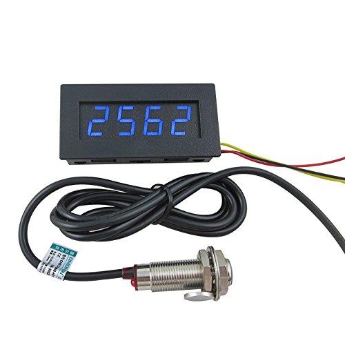 DIGITEN 4 Digital LED Tachometer RPM Speed Meter+Hall Proximity Switch Sensor NPN Blue