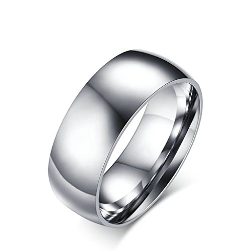 Adisaer Titanium Ring Comfort Fit Wedding Band Ring Unisex 8MM Width Mens Silver Engagement Ring Size 9 ()