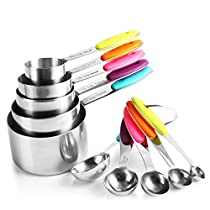 zanmini Measuring Cups and Spoons Set of10, Food Grade 304 Stainless Steel 5 Measuring Cups and 5 Measuring Spoons with 2 Rings and Silicone Handle, Engraved US & Metric Measurements – Dishwasher Safe Food Grade Cook