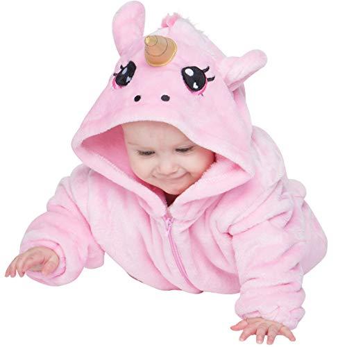 corimori 1850 Rose The Unicorn Animal Onesie Baby, 3D Ears One Piece Jumpsuit, Pink - Height 24-28'' (3-9 Months)]()