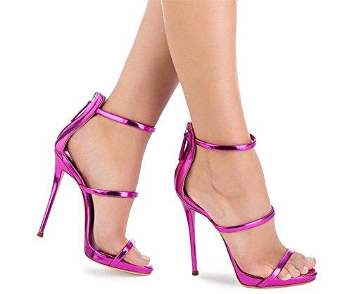 spillo cinghie GAOGENX Club Vestito donna Dimensioni EU39 a Festa verniciata 45 Roma Scarpe Tacco da Pelle a da sandali 35 qXwXfv4C