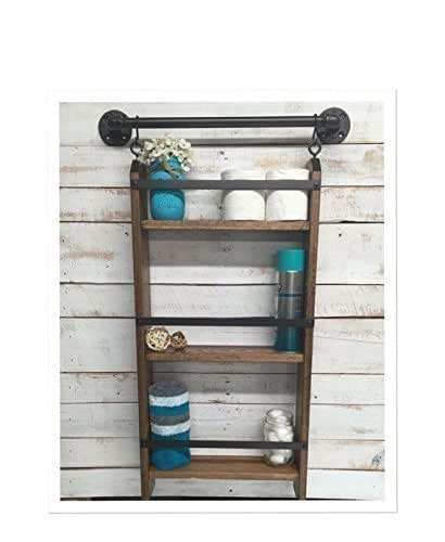 Amazon Com Bathroom Ladder Shelf Rustic Bathroom Shelf