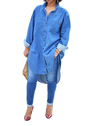 Womens Causal Denim Cuffed Sleeve Button Irregular Hem Loose Clubwear Midi Dress