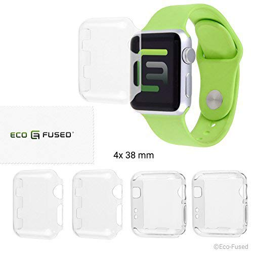 Eco-Fused Case Cover Screen Protector Compatible with Apple Watch 2 (38mm) - 4 Pack (2X Hard, 2X Soft) - Transparent Protective Shields - Protects Your Apple Watch Series 2