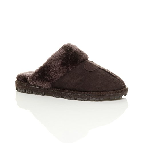 casa por Zapatillas mujer de para Ajvani Brown estar Fur Brown wq4POxf