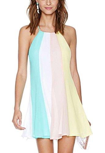 Uniquezone Women's Rainbow Casual Chiffon Mini Dress Beach Dress (Rainbow High Low Prom Dress)