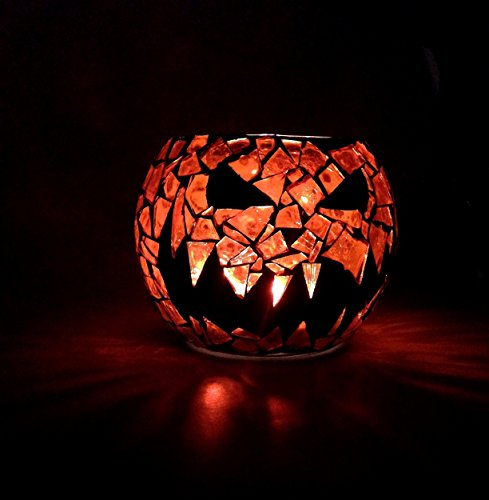 Burton Bubble - Pumpkin King Candle Holder, Jack O Lantern Votive, 3.5 inch Handcrafted Mosaic, orange and black stained glass
