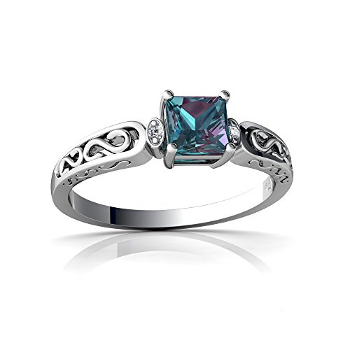 14kt White Gold Lab Alexandrite and Diamond 4mm Square filligree Scroll Ring - Size 9