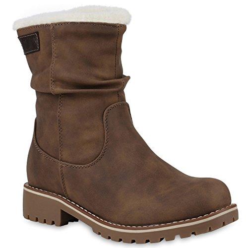 Stiefelparadies Damen Schuhe Stiefeletten Warm Gefütterte Winterboots Profilsohle Stiefel Flandell Khaki