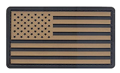 Rothco PVC US Flag Patch with Hook Back, Khaki/Black (Premium Pvc)