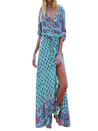 Beach Maxi Sexy Print V Falda Floral Long NREALY Neck Sleeved Women Party Green Dress Long Iwq4xP
