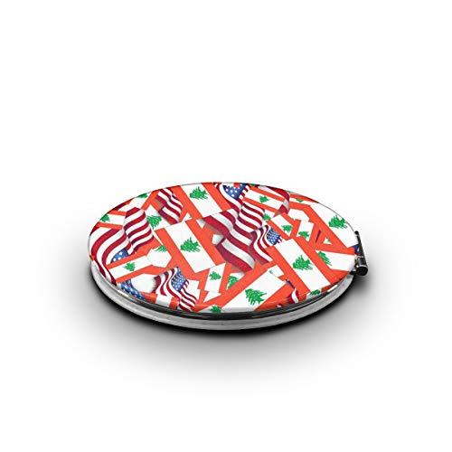 ZORITO Makeup Mirror Lebanon Flag with America Flag Double-Sided Portable Folding Mirror -