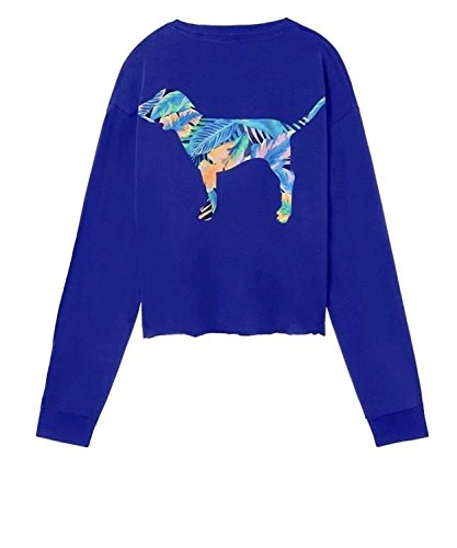 Victoria's Secret Pink Campus Cropped Long Sleeve V-Neck Tee Blue, Small (Oversized)