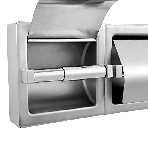 Dependable Direct Pack of 9 - Horizontal Two Roll Hooded Toilet Paper Holder - Stainless Steel - Satin Finish - Surface Mount by Dependable Direct (Image #2)
