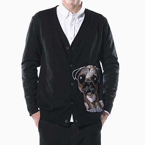 メンズ カーディガン コート 秋冬 アウター セーター 印花 刺繍 カジュアル 長袖 綿 無地 メリヤスシャツ アウター トップス ゆったり 男 個性 大きいサイズ