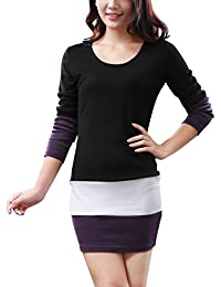 Allegra K Women Scoop Neck Long Sleeves Color Block Mini Dress