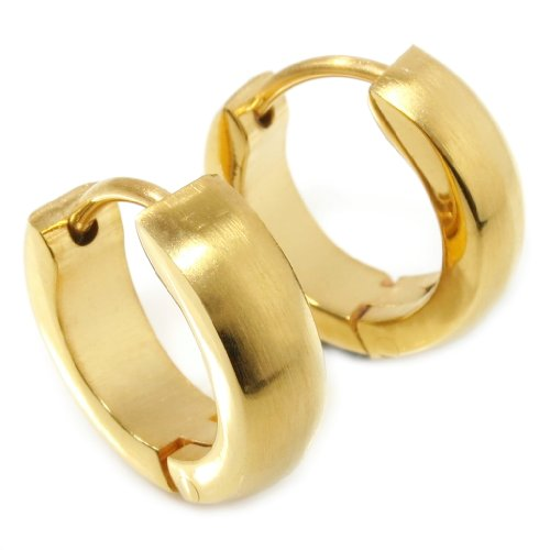 Pair Stainless Steel Brush Gold Color Hoop Earrings - Cheap Guys
