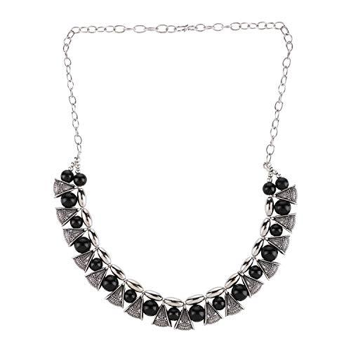 Efulgenz Boho Traditional Indian Oxidized Crystal Black Pearl Beaded Vintage Tribal Statement Choker Necklace Jewelry ()