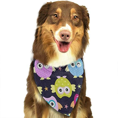 HJudge Dog Bandana Funny Owl Star Glitter Dog Scarf Trendy Puppy Neckerchief]()