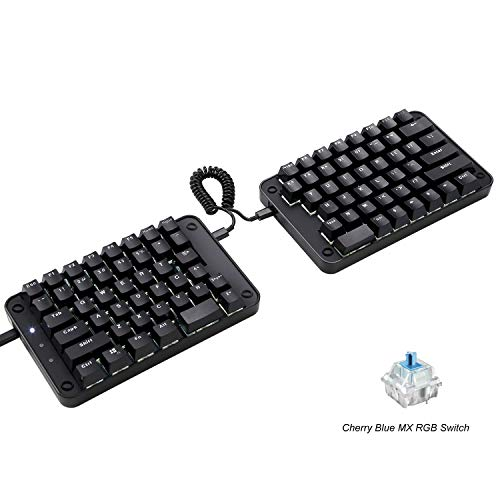 Koolertron Programmable Split Mechanical Keyboard,All 89 Keys Programmable Ergonomic Keypad with Cherry MX Blue Switch,8 Macro Keys - [SMKD62] (Cherry MX Blue Switch (White Backlit))