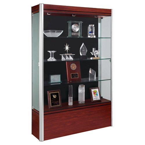 Contempo Series Lighted Floor Display Case Frame Color: Satin, Base Color: Light Maple, Case Backing: ()