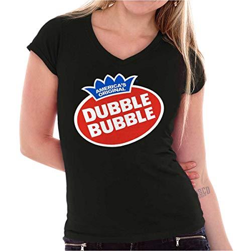 Vintage Dubble Bubble Gum Double Logo Gift Junior V Neck Black