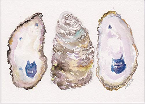 Oysters original watercolor painting, 5 x 7 Coastal Living Art, hand painted Not a print