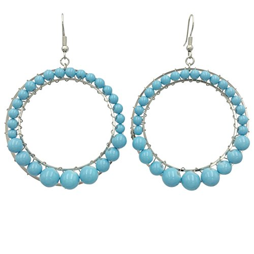 Bead Wrapped Round Circles Bright Dangle Earrings (Light Blue)
