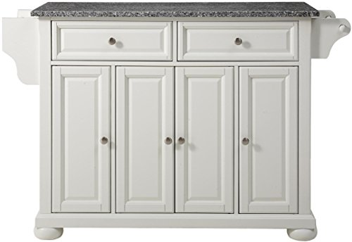 Crosley Furniture Alexandria Kitchen Island with Solid Grey Granite Top - White