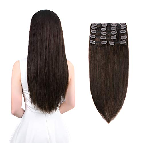 Winsky Clip in Remy Human Hair Extensions 140g 8pcs 20clips Full Head Soft Straight Thick Hair Clip in Extensions for Women (16inch, Dark Brown #2 Color)