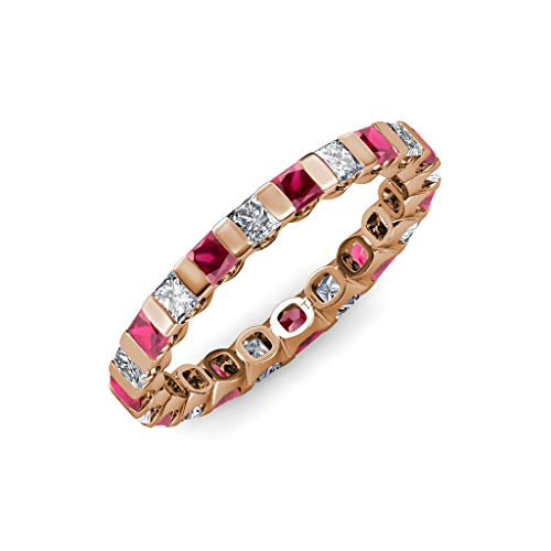 TriJewels Ruby & Diamond Common Channel Set 3 mm Eternity Band 2.52 ctw to 3.15 ctw 14K Rose Gold.size 8.5 ()