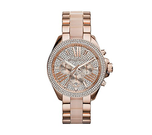 Michael Kors Rose Goldtone Pav= Dial and Blush Center Link Wren Watch with