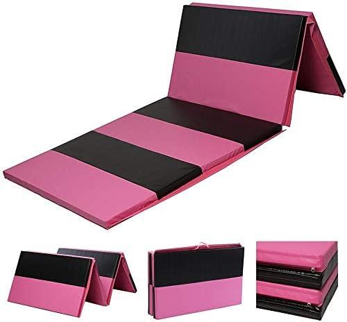 体操マット 118×47×2インチの折りたたみ体操マットヨガエクササイズジムAirtrackパネルタンブリングクライミングピラティスパッドエアトラック (色 : ピンク, サイズ : 300x120x5cm)