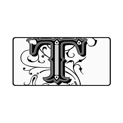 YOLIYANA Letter T Utility License Plate,Symmetrical Uppercase Letter in Renaissance Art Style Ornamental Monochrome Decorative for Car,11.8