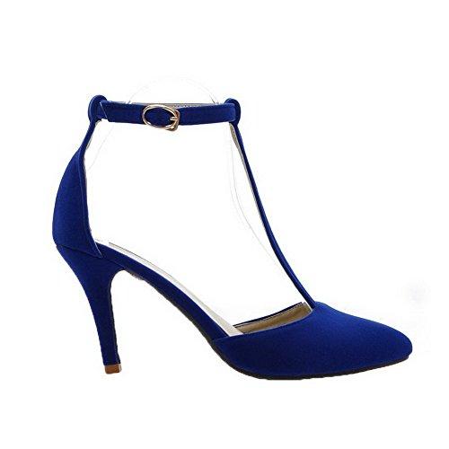 GMBLA012426 Fermeture Haut Boucle Femme Dépolissement Sandales AgooLar à D'orteil Bleu Talon wqfXzqBgI