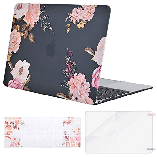 MOSISO Plastic Pattern Hard Shell Case & Keyboard Cover & Screen Protector Compatible with MacBook 12 inch with Retina Display (Model A1534, Release 2017 2016 2015), Peony on Transparent Black Base