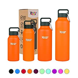 Healthy Human Double Walled Insulated Stainless Steel Water Bottle Thermos with Carabiner - Orange Sherbet - 32 oz