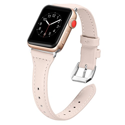 Secbolt Leather Bands Compatible Apple Watch Band 38mm 40mm Slim Replacement Wristband Sport Strap for Iwatch, Series 4 3 2 1, Edition Stainless Steel Buckle