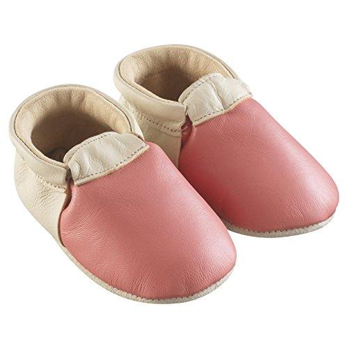 Tichoups chaussons bébé cuir souple ticolo corail et beige