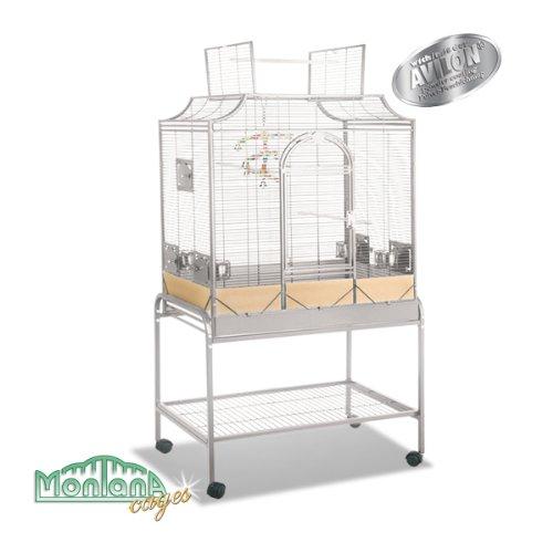 Montana Cages | Sittichkäfig, Käfig, Voliere, Vogelkäfig Madeira III - Platinum mit Anflugklappe auch als Geschenk