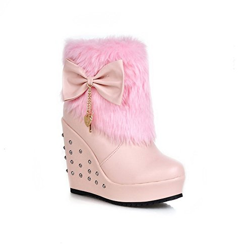 Gold Fur AdeeSu Ladies Imitated Leather Pink Platform Rivet Spun Boots Collar Bowknot TqHgE