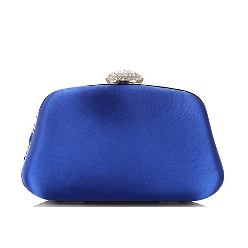 Blue Purse Evening Handbag Pleated Crossbody Bag JESSIEKERVIN Women's Clutch XWqO84nOUx