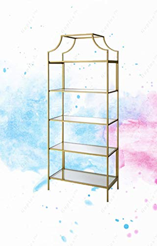 """71/"""" 5 Tier  Tempered Glass Etagere Bookcase  Open Shelving Bookcase Gold Finish"""