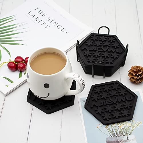 Silicone Drink Coasters Set of 6,Silicone Coasters for Drinks Absorbent,Reusable Drink Coasters with Holder Cup Coasters Non-Slip,Non-Stick,Bar Glass Coasters for Drinks Women Men Gift (Black)
