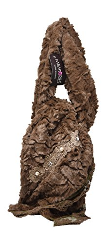 Angora Scarf - Long Lightweight Sculpted Faux Fur Colored Vintage Soft Neck Scarf Shawl With Lace And Rhinestone Accents (Brown)